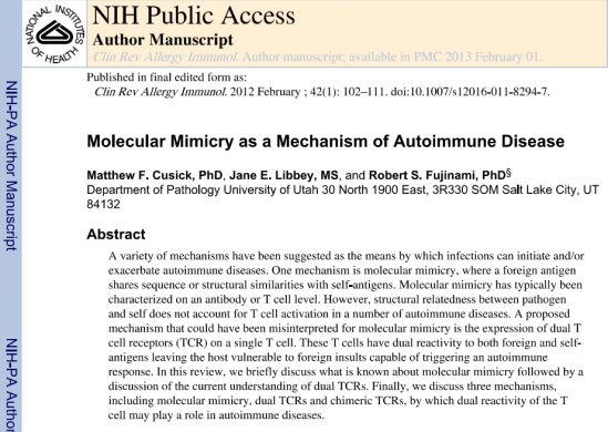 Molecular Mimicry as a Mechanism of autoimmune desease