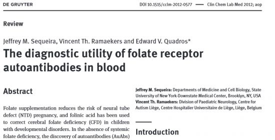 The diagnostic utility of folate receptor autoantibodies in blood
